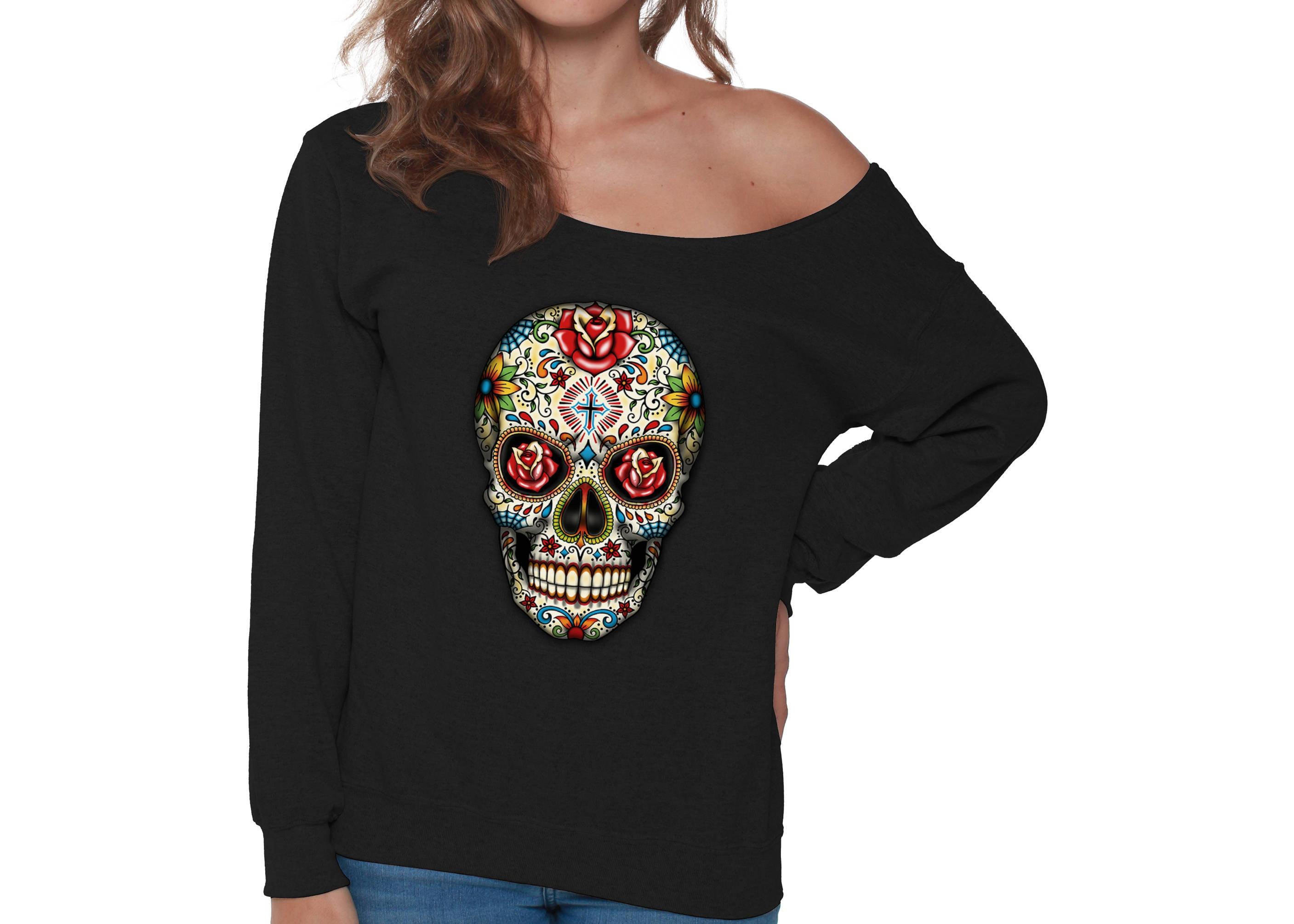 847f43e3b91 Skull Off Shoulder Sweatshirt for Women Off The Shoulder Baggy   Etsy