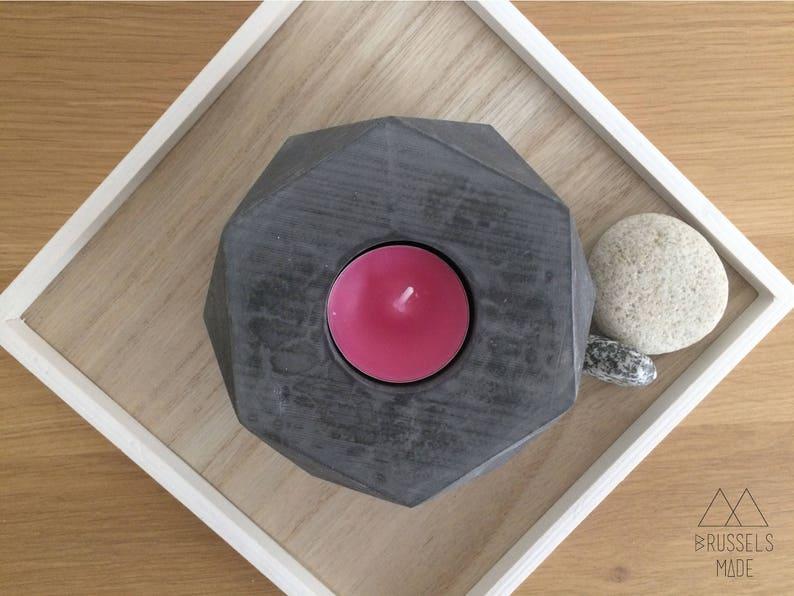 Large anthracite hexagonal concrete tealight  set of 1