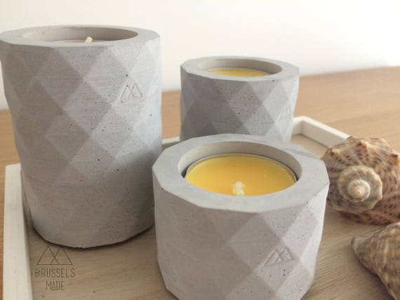 Multi-sided white concrete tealight  set of 3