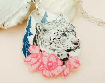Snow Leopard jewelry, Snow Leopard necklace, Snow Leopard, animal jewelry, cool necklace, quirky gift, quirky jewelry, Snow Leopard art