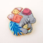 Manatee pin, Manatee gift, animal art, animal jewelry, Manatee jewelry, Manatee, quirky pin, wooden pin, animal brooch, cute brooch