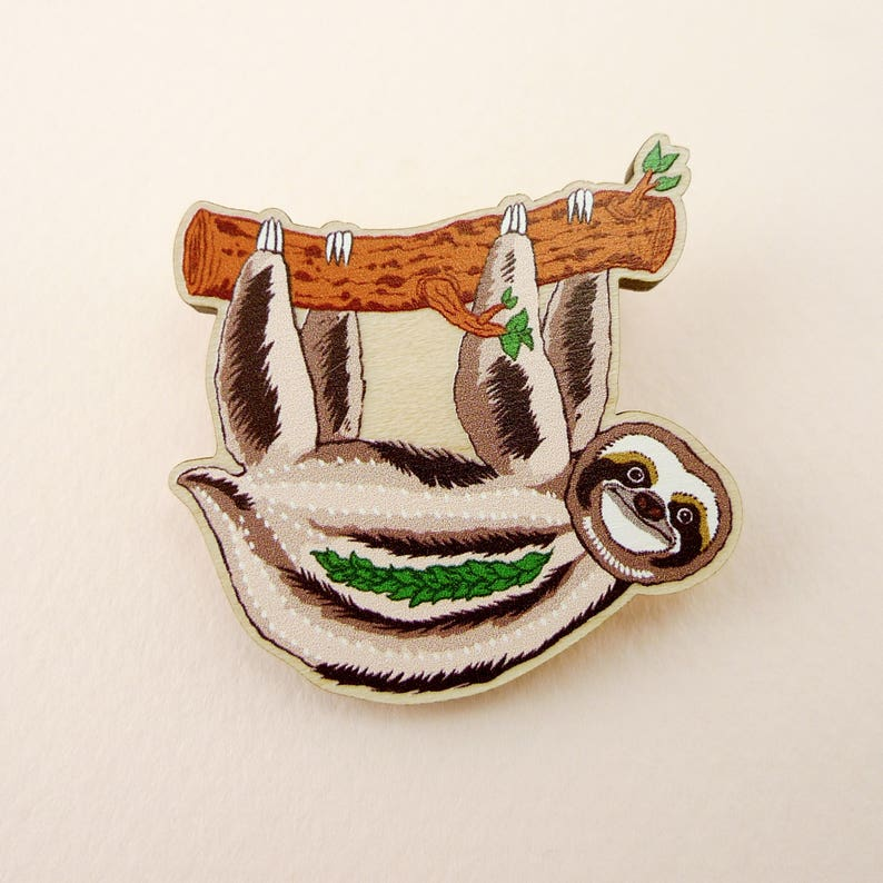 sloth pin sloth jewelry sloth art animal jewelry sloth image 0