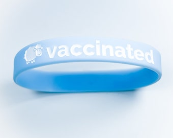 Vaccinated Bracelet, vaccine wrist band, silicone bracelet, vaccinated, vaccine awareness, pro vaccine, waterproof, adult size