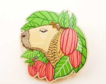 Capybara pin, guinea pig pin, animal art, animal jewelry, guinea pig gift, capybara, quirky pin, wooden pin, animal brooch, cool brooch