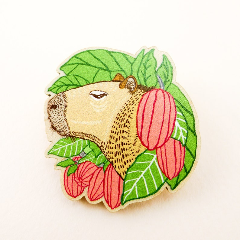 Capybara pin guinea pig pin animal art animal jewelry image 0