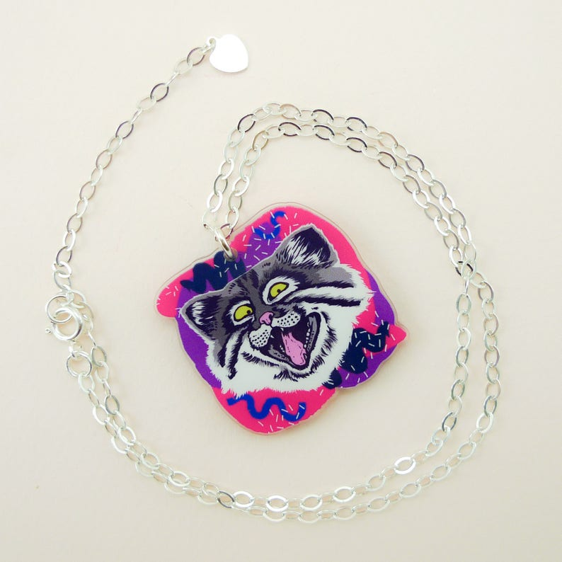 Cat jewelry cat necklace cat cute cat animal jewelry image 0