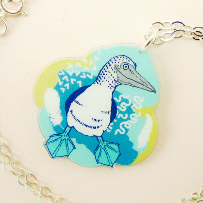 Blue footed booby jewelry Blue footed booby necklace Blue image 0
