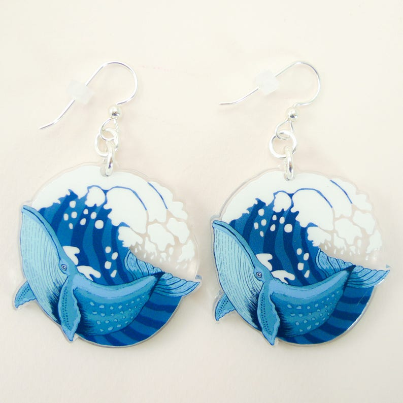 Whale jewelry whale gift whale earrings cute earrings image 0
