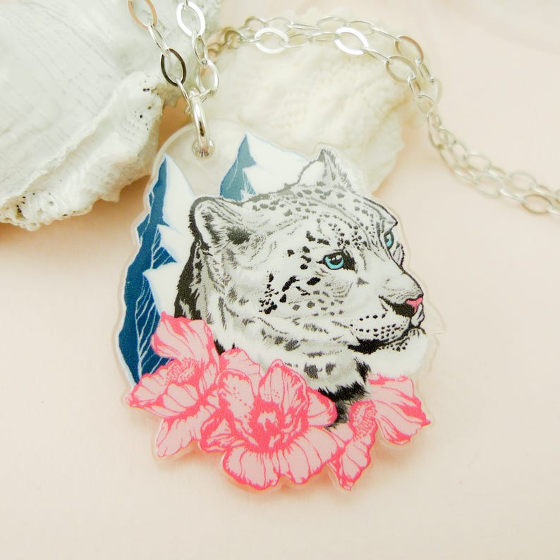 Snow Leopard jewelry Snow Leopard necklace Snow Leopard image 0