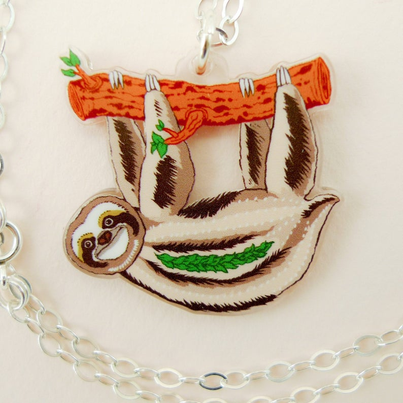 Sloth jewelry sloth necklace cute sloth animal jewelry image 0