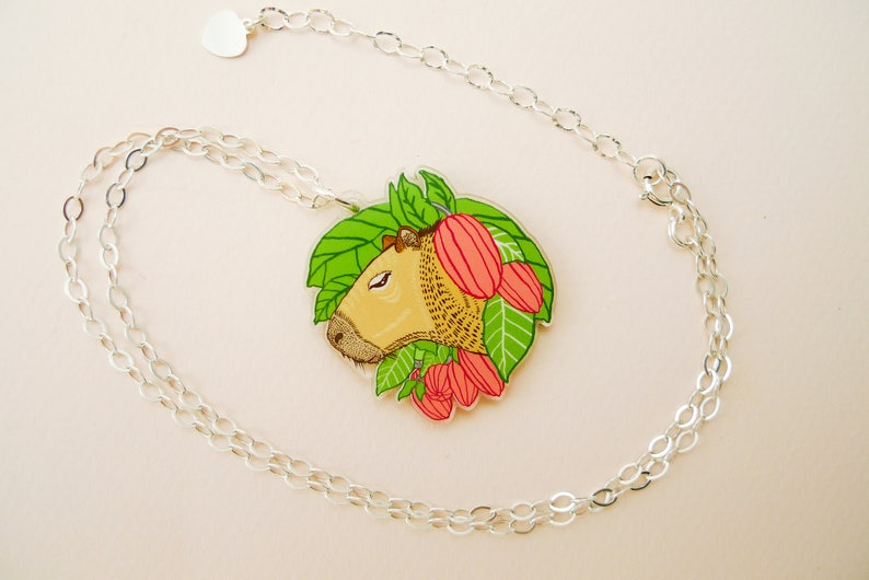 Capybara jewelry capybara necklace guinea pig cute guinea image 0