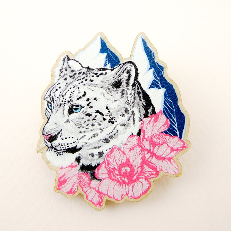 Snow leopard pin snow leopard gift animal art animal image 0