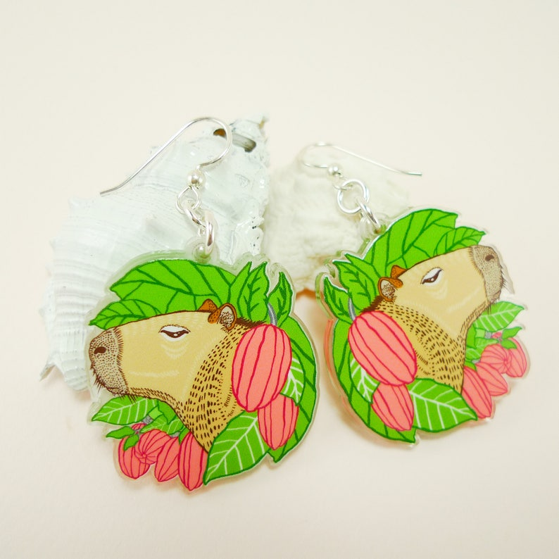 Capybara jewelry guinea pig gift capybara earrings cute image 0