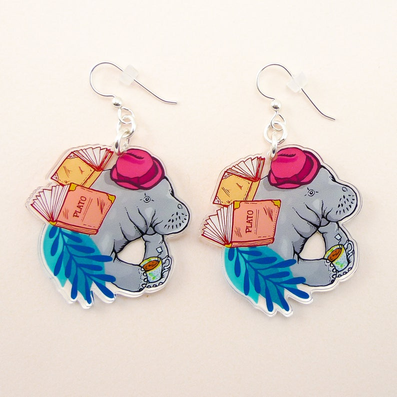 Manatee jewelry Manatee gift Manatee earrings cute image 0