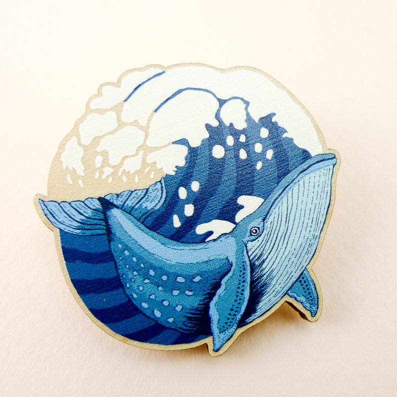 Whale pin whale gift animal art animal jewelry whale image 0