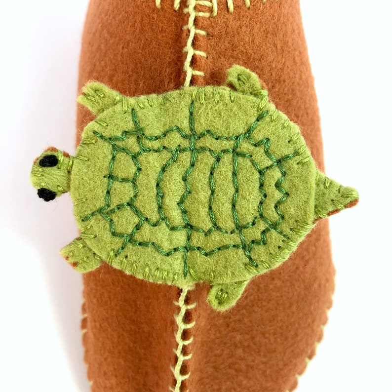 Wood Turtles on Hand-Stitched Brown Wool Blend Slippers