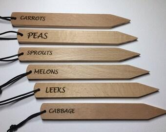 Set Of 6 Wood Garden Vegetable Plant Markers
