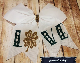 Girl's St. Patrick's Day Cheer Bow White with Ponytail Holder for Cheerleading Girl