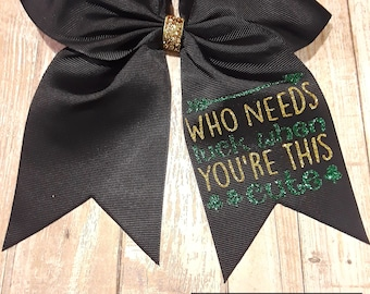 Girls St. Patrick's Day Cheer Bow White with Ponytail Holder for Cheerleading