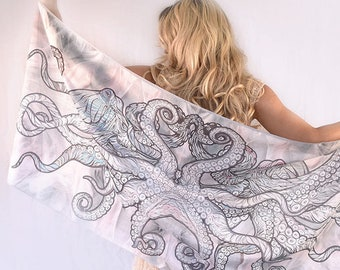 Octopus Scarf, Hand painted Silk scarf Octopus Print,  Scarf Women, White scarf silk, Cotton scarf