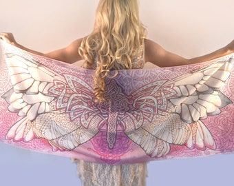 Wings Scarf, Hand Painted Silk Scarf, Women scarf, Cotton scarf, Pink scarf women