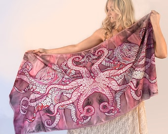 Octopus Pink Scarf, Hand Painted Silk scarf, Women scarf, cotton scarf, Pink silk scarf women, Scarf Silk
