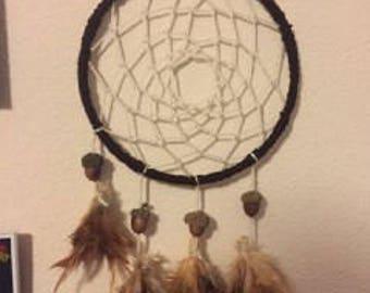 Earthly Dream Catcher Brown Cream Acorn Feather Nightmare