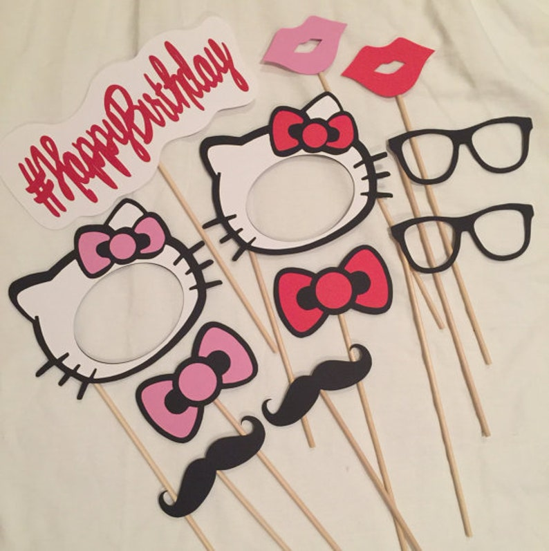 Hello Kitty Photo Booth Props Hello Kitty Party Hello Kitty Etsy