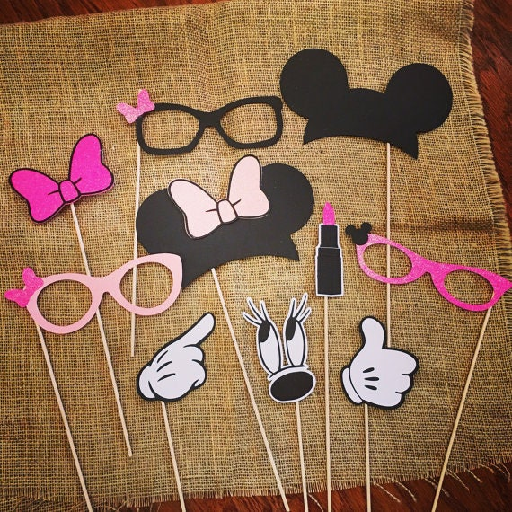 Glitter Minnie Mouse Photo Booth Props Minnie Mouse Party Etsy