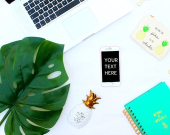 Download Free iPhone and Laptop Mockup | Styled Stock Photography | Monstera Leaf | Notebook | Digital Image PSD Template