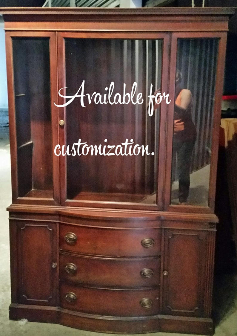 Vintage China Cabinet Hutch Upcycled Refurbished Painted Furniture Dining