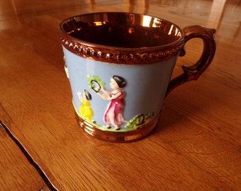 014ee3f0046 Antique Copper Lustre Prattware cup Raised Figures Decoration Circa 1850
