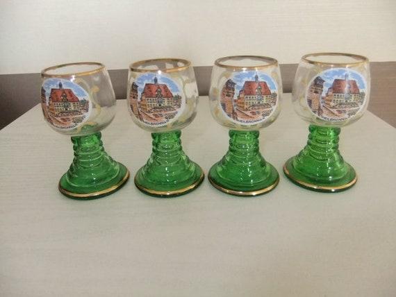 Four Green Stem Vintage German Roemer Wine/hock Glasses Heilbronn 3.5
