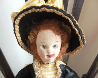 "1930,s British Cloth Doll hand painted face mohair wig in regency dress 14"" tall"