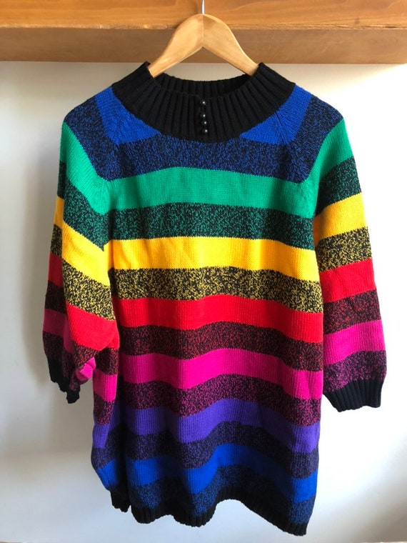 Vintage 80's Oversized Rainbow Striped Sweater