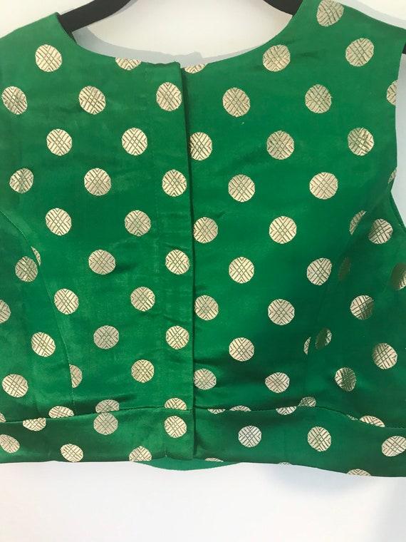 Silk brocade asharafi bootis blouse color green