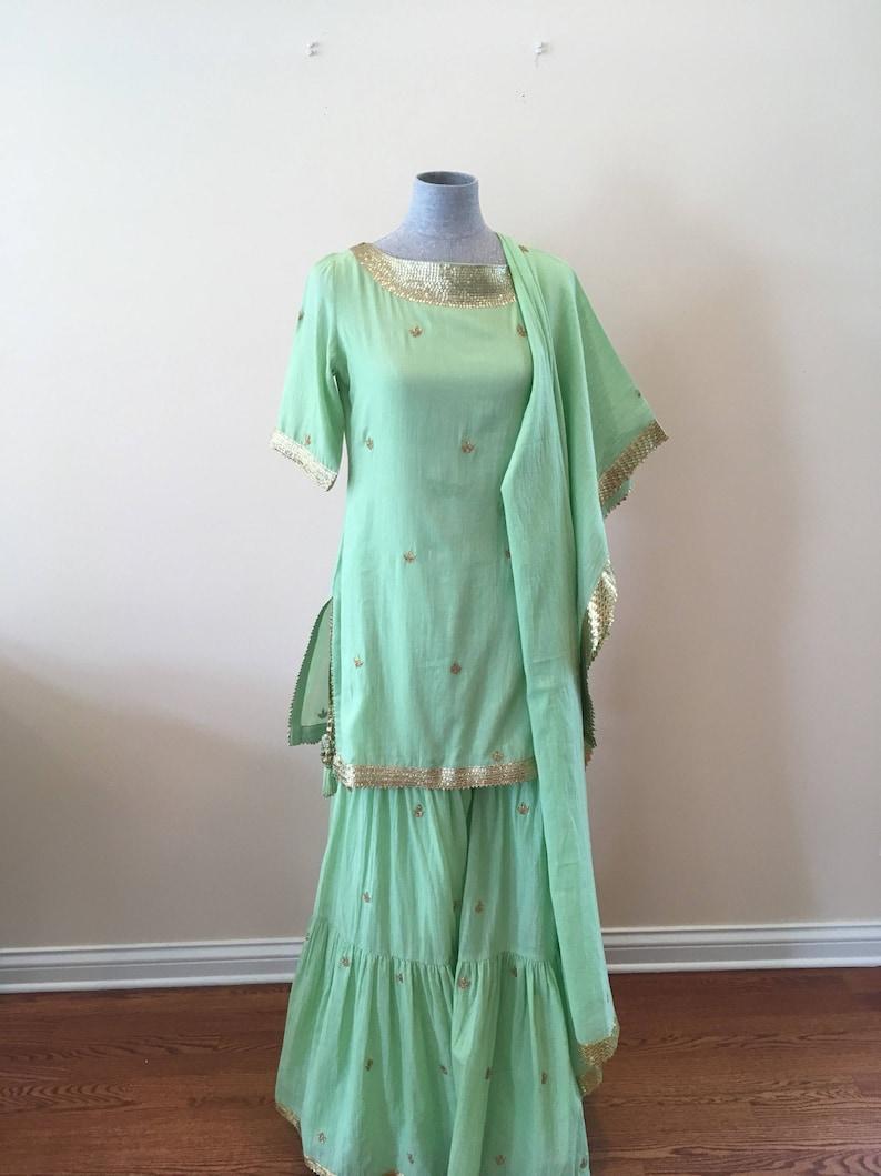 Sukriti Akriti  Apple green sharara set
