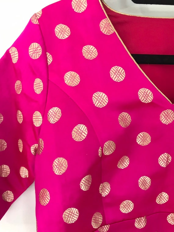 Rani pink silk brocade blouse size S