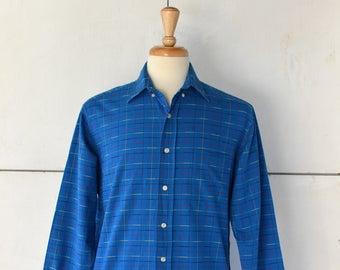 70s mens blue striped button down | vintage button down shirt | 70s mens shirt