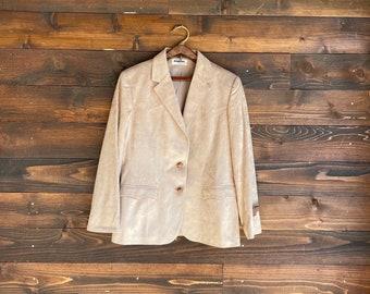 Vintage Western Folk Blazer Yellowstone Rancher Jacket Retro Cowgirl Faux Suede Brown Blazer Rancho Deluxe GraisLadies 14 LargeLike NEW