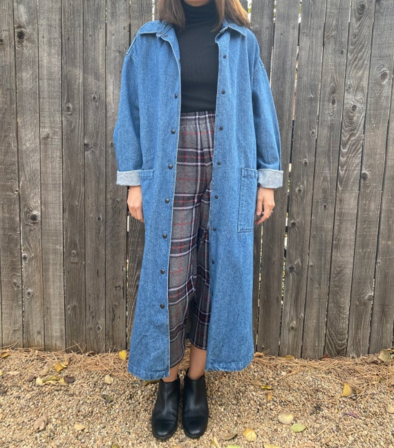 90s denim duster | vintage jean trench | 1990s lon