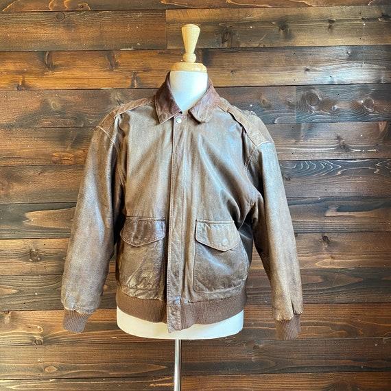 80s brown leather bomber jacket | vintage leather