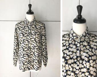 1970's Women's Floral Blouse | Vintage 70's Blouse | 70's Women's Shirt | Vintage Long Sleeve Floral Blouse