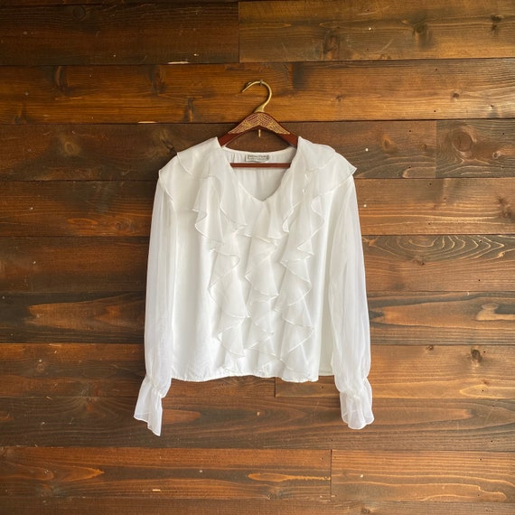 80s white ruffle blouse | vintage sheer blouse | 1