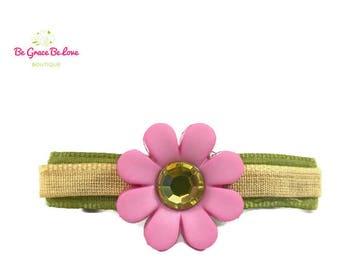 Pink Flower Barrette, Flower Girl, Flower, Floral, Baby Shower Gift, Baby Headband, Hair Bows, Hair Clip, Barrette, Hair Vine, Bow