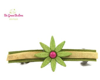 Green Flower Barrette, Flower Girl, Flower, Floral, Baby Shower Gift, Baby Headband, Hair Bows, Hair Clip, Barrette, Hair Vine, Bow, Spring