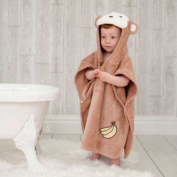 Bathing Bunnies Kids Monkey Poncho Towel for Boys and Girls Aged 1-3 Years for Beach Time and Bath Time