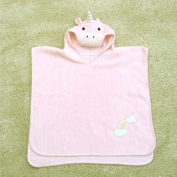 Bathing Bunnies Kids Unicorn Poncho Towel for Girls Aged 1-3 Years for Beach Time and Bath Time