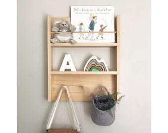 Kids Combo Shelf - Kids Room Decor - Nursery Decor - Wood Book Shelf - Timber Shelf, Kids Shelves - Peg Rack, Peg Rail - Wood Kids Hutch