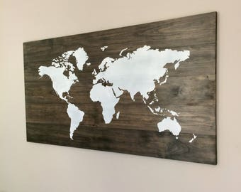 Large world map etsy xl huge world map on wood rustic farmhouse style decor rustic decor nursery decor wall art white map travel wooden map gumiabroncs Choice Image